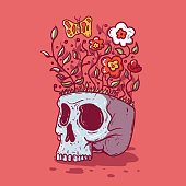 Skull, bones, death, nature, imagination design concept