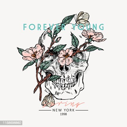 Skull with flowers. Forever young slogan. Typography graphic print, fashion drawing for t-shirts