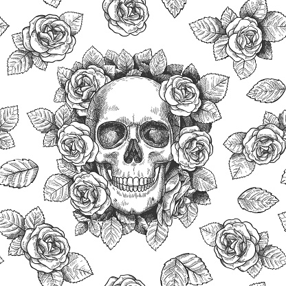 Skull with flowers. Sketch skulls with roses gothic artwork, repeat graphic print wallpaper, textile texture seamless vector pattern