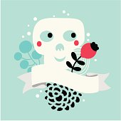 Skull with flowers.