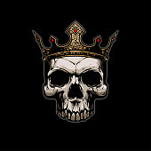 Skull with gold crown in vector