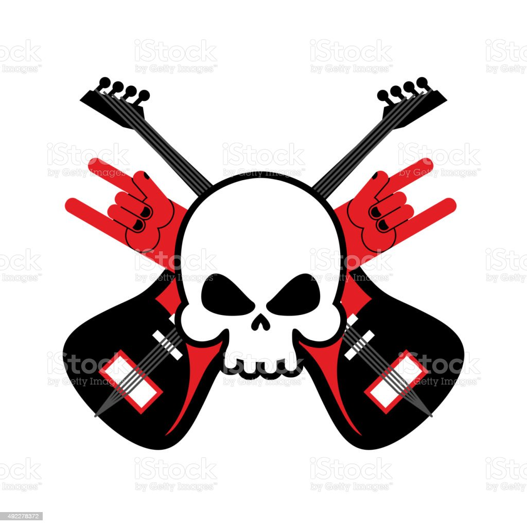 Skull With Guitars And Rock Hand Symbol Stock Vector Art More