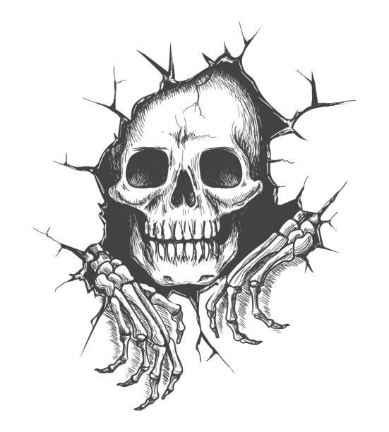 ilustraciones, imágenes clip art, dibujos animados e iconos de stock de cráneo con manos - tatuajes de calaveras