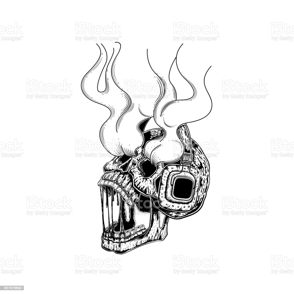Skull With Headphones Vector Illustration Of A Listening To Blank Human Body Diagram Tattoo The Music Skeleton Wearing