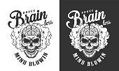 Skull with human brain label