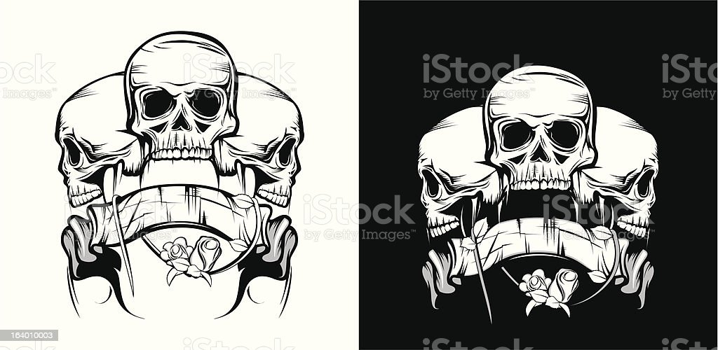 Skull with ribbon and rose in monochrome royalty-free skull with ribbon and rose in monochrome stock vector art & more images of anatomy