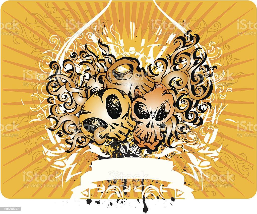 Skull with rock design royalty-free stock vector art