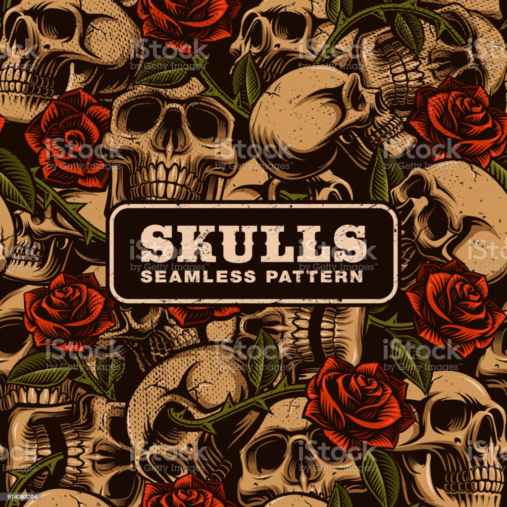 Skull with roses seamless pattern vector art illustration