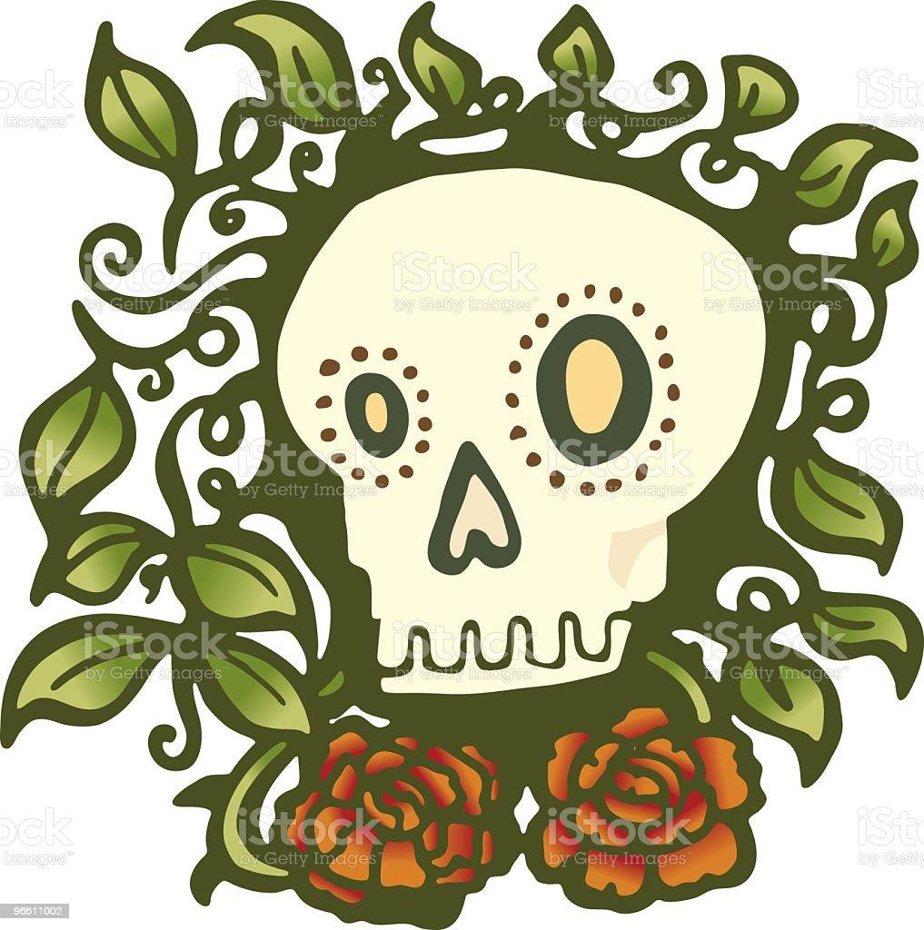 Skull with Roses - Royaltyfri Bisarr vektorgrafik