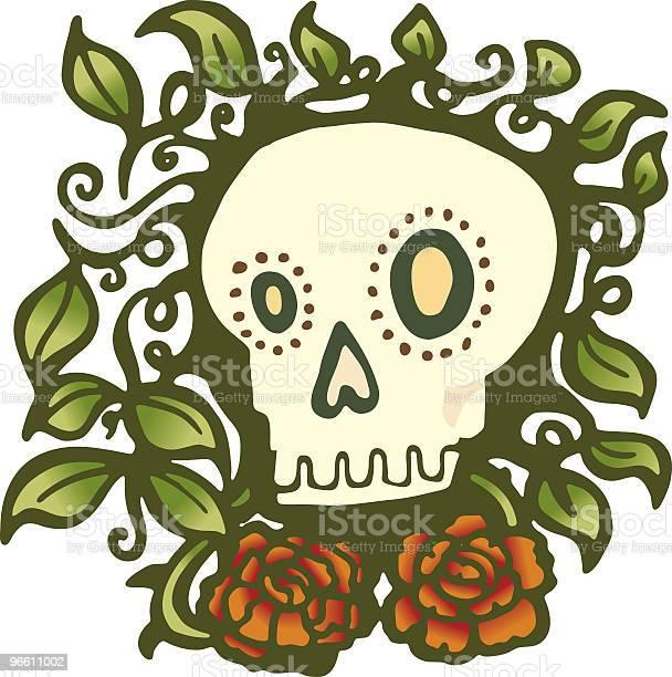 Skull With Roses-vektorgrafik och fler bilder på Bisarr