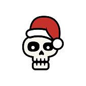 Skull with Santa hat, vector illustration. EPS 10.