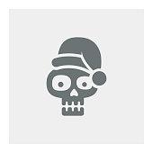 Skull with Santa hat,vector illustration. EPS 10.