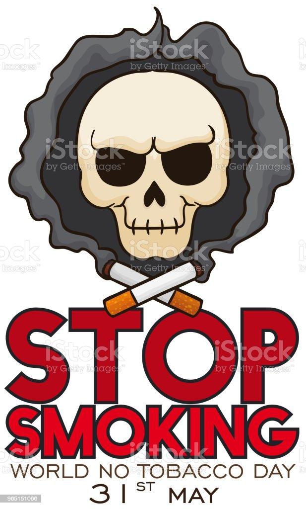 Skull with Smoke like Dark Hood for No Tobacco Day skull with smoke like dark hood for no tobacco day - stockowe grafiki wektorowe i więcej obrazów antropomorficzna buźka royalty-free
