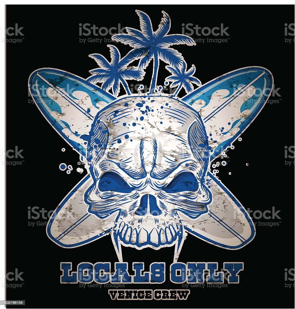 skull with  surfboard on black  background vector art illustration