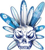 skull distroy with surfboard