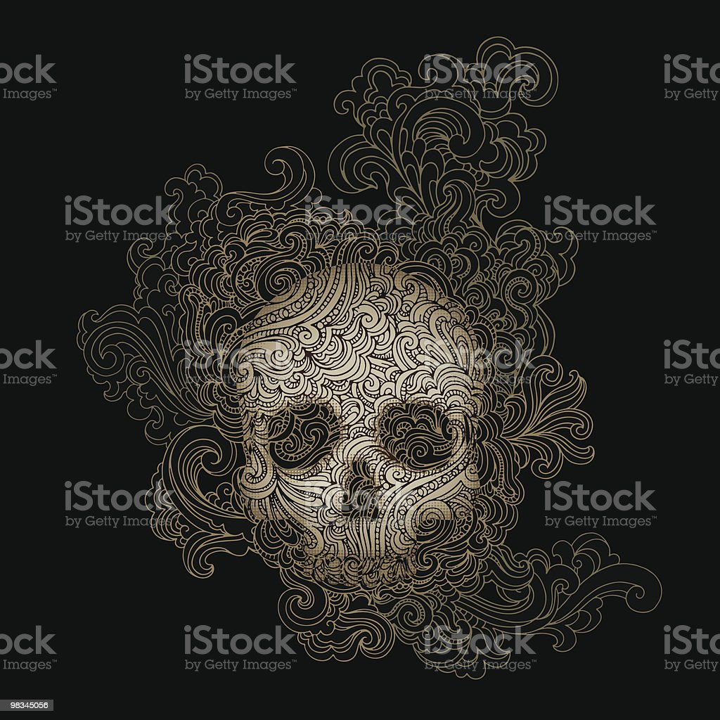 Skull with Swirls royalty-free skull with swirls stock vector art & more images of black background