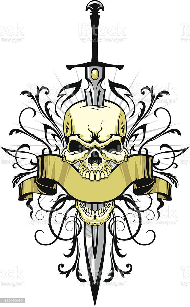 Skull with sword and design elements vector art illustration
