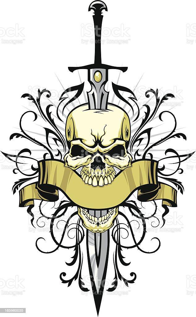Cráneo con espada y elementos de diseño - ilustración de arte vectorial