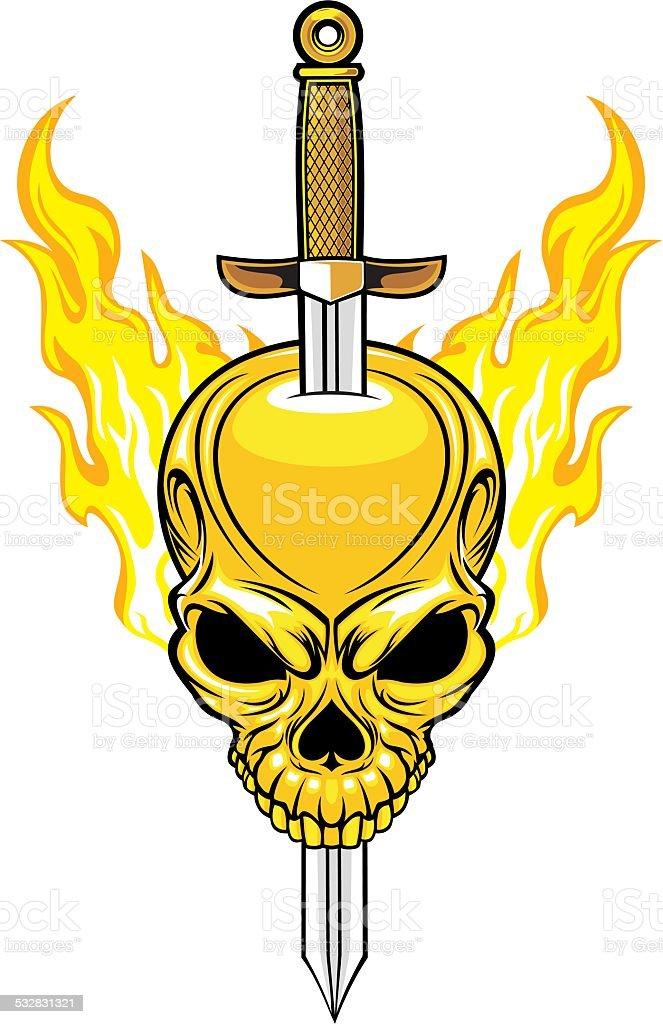 Cráneo con espada - ilustración de arte vectorial