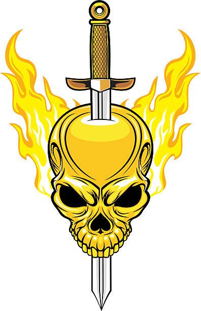 ilustraciones, imágenes clip art, dibujos animados e iconos de stock de cráneo con espada - tatuajes de espadas