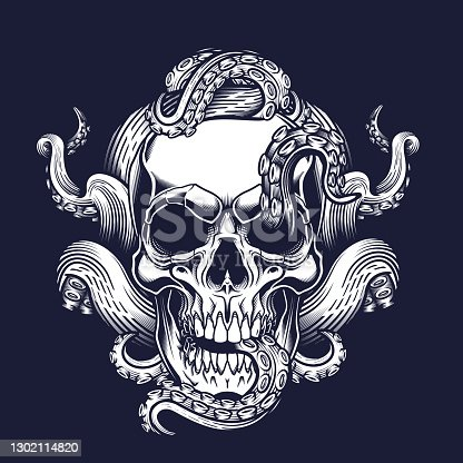 istock Skull with tentacles design. 1302114820