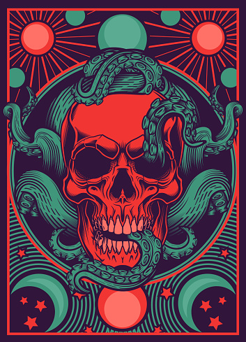 Skull with tentacles design.