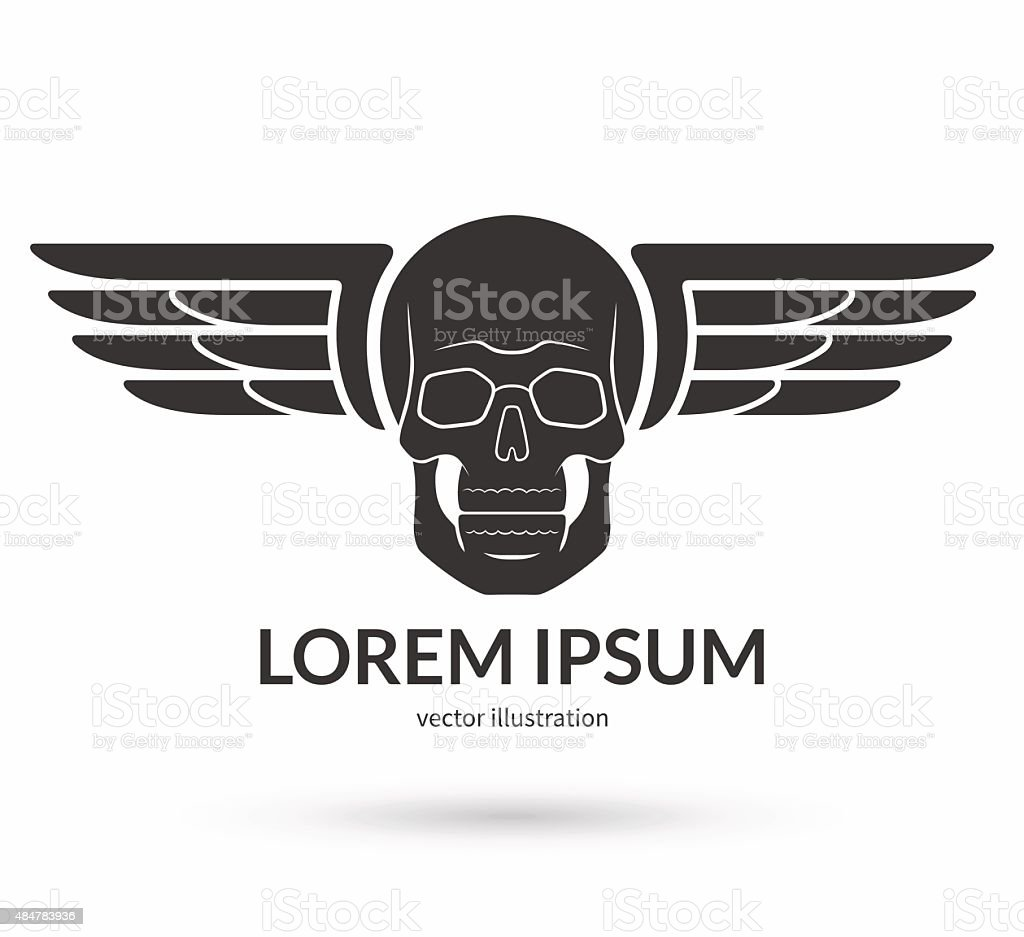 Skull With Wings Logo Emblem Icon Symbol Sign Stock Vector Art - Car sign with wings