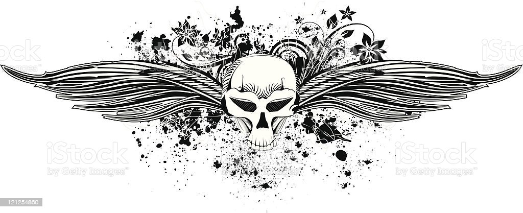 Skull with wings royalty-free stock vector art
