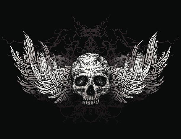skull with wings - animal skull stock illustrations