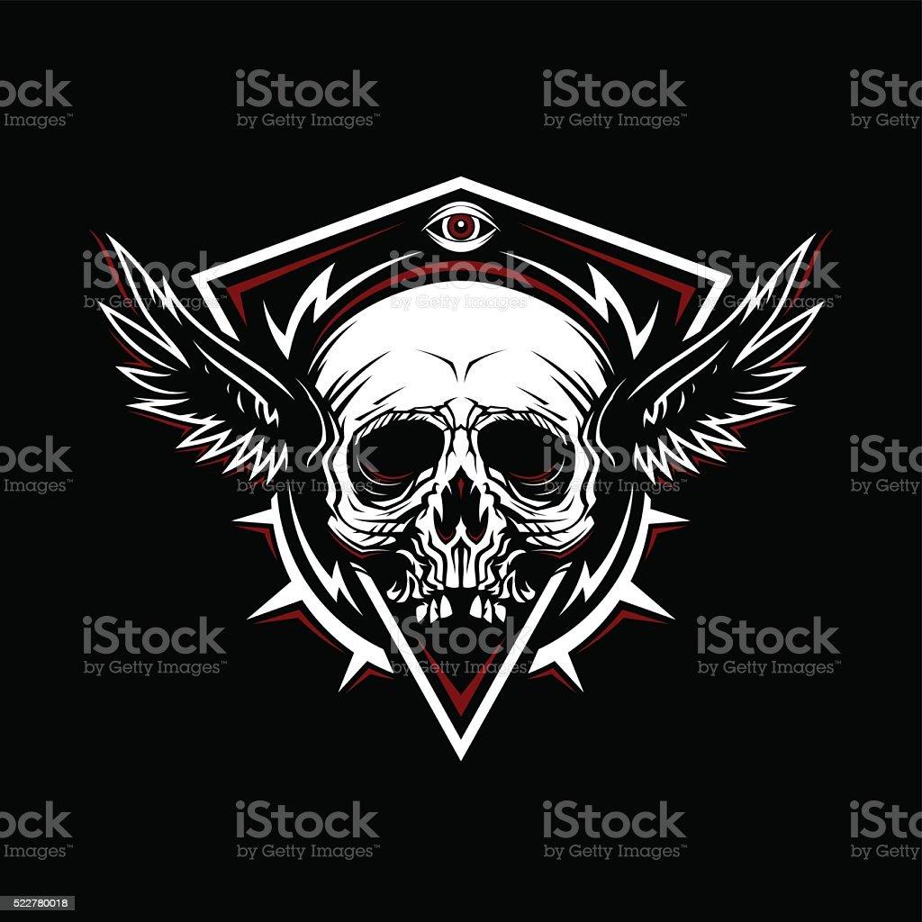 Motif de crâne avec ailes de poulet - Illustration vectorielle