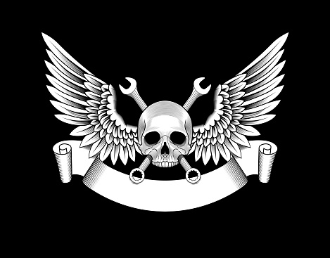 Skull with wings, wrenches and ribbon. Auto repair shop emblem.