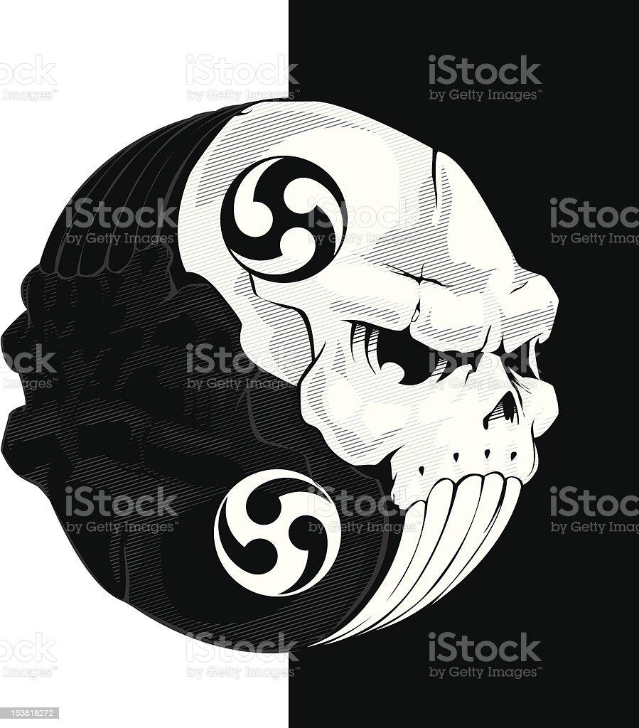 Skull yinyang vector art illustration