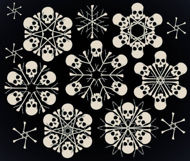 Skulls and bones jolly snowlakes Set of vector snowflakes made of skulls and bones in beige isolated over black background. goth stock illustrations