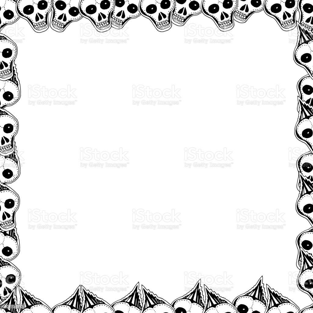 Cráneos Y Huesos Marco Dibujado A Mano Lindo Vector - Arte vectorial ...