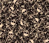 Skulls and bones (seamless background)