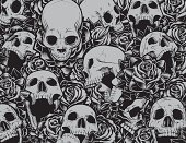 Vector illustration with several skulls at different angles swimming in a sea of detailed tattoo style roses. Great collection of individually grouped elements.
