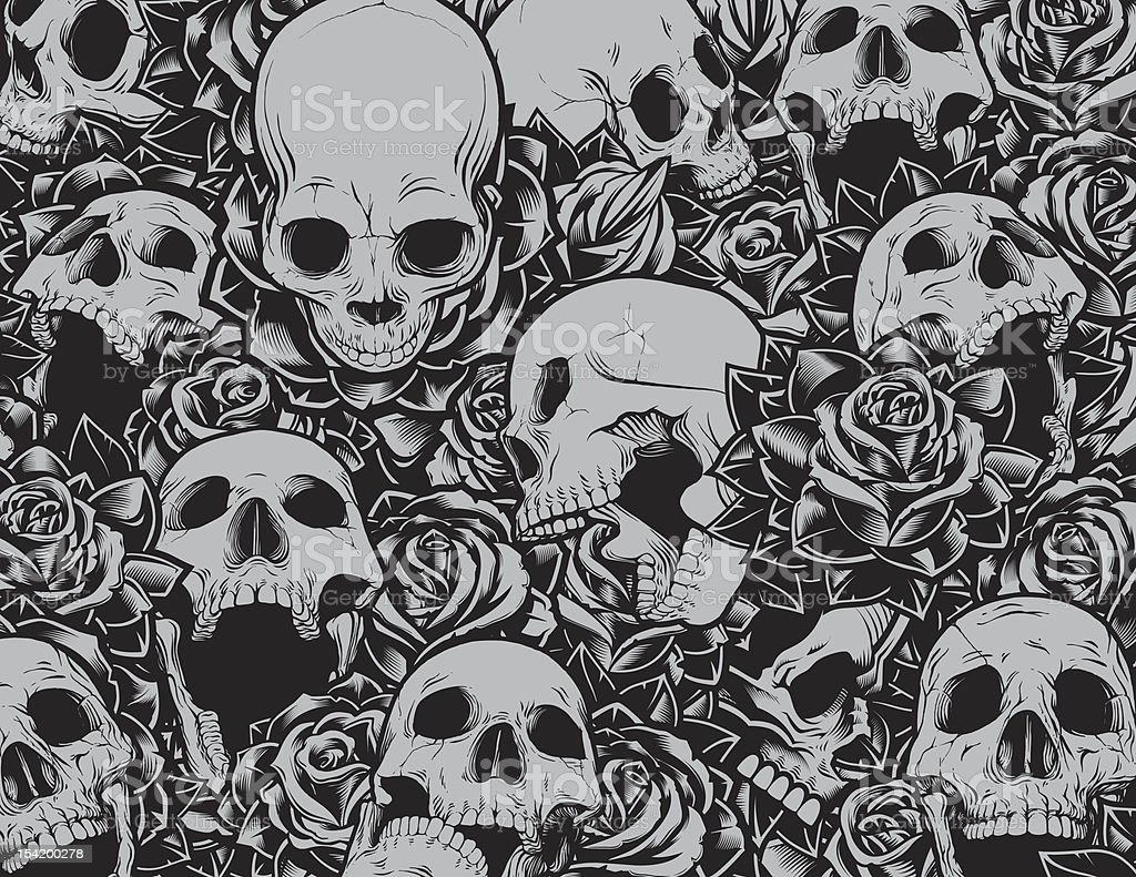 Skulls and Roses Background vector art illustration