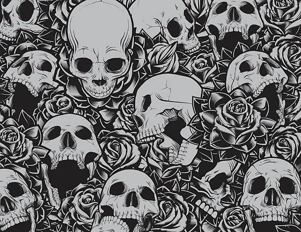 Skulls and Roses Background vector art illustration