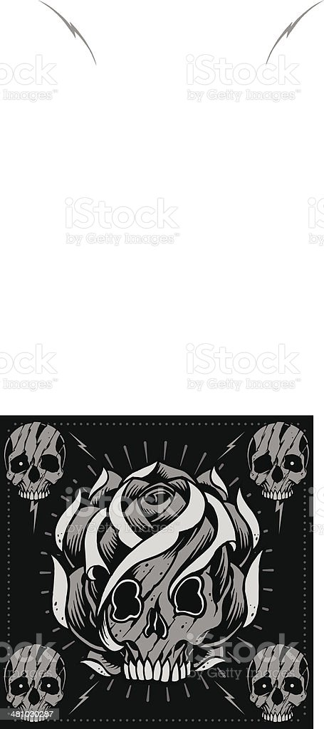 Skulls and skull rose shape vector vector art illustration