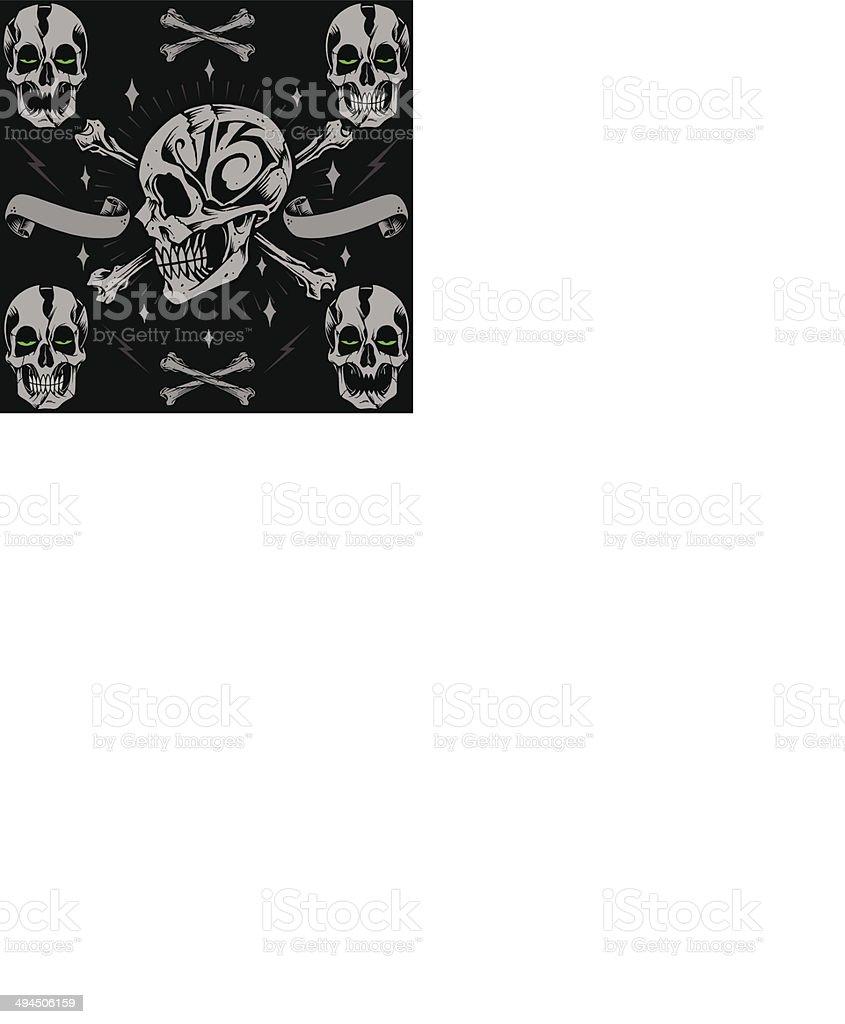 Skulls bone cross and Ribbon vector art illustration