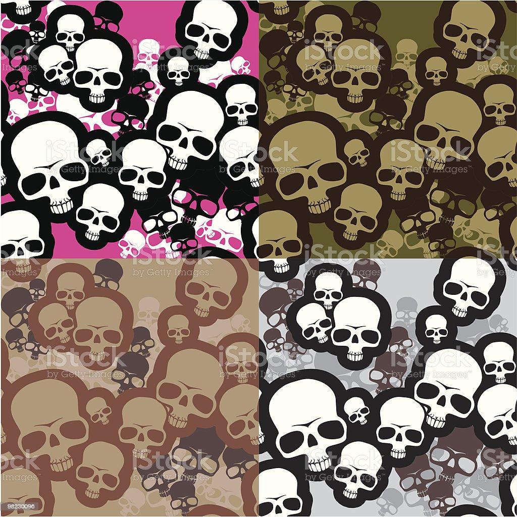Skulls camo vector art illustration