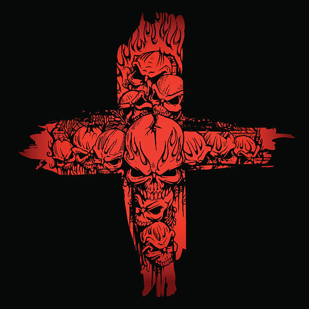 totenköpfe cropped im blut red cross - kreuzkette stock-grafiken, -clipart, -cartoons und -symbole