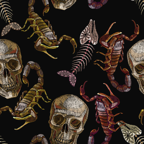 Skulls, fish bone and scorpion embroidery seamless pattern. Gothic medieval art template clothes, t-shirt design, print vector art illustration