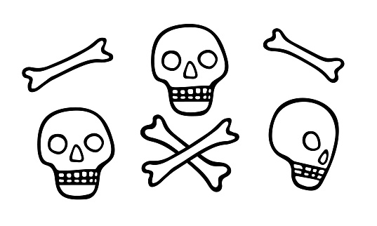 Skulls full face and in profile and human bones. Set of hand drawn black design elements for Halloween decoration. Stock vector doodle illustration isolated on transparent.