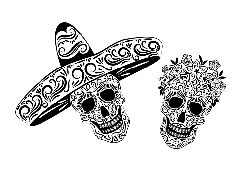 Skulls in Mexican sombrero headdresses and a wreath of flowers with an ornate pattern. Black isolated drawing on a white background. The day of the Dead.