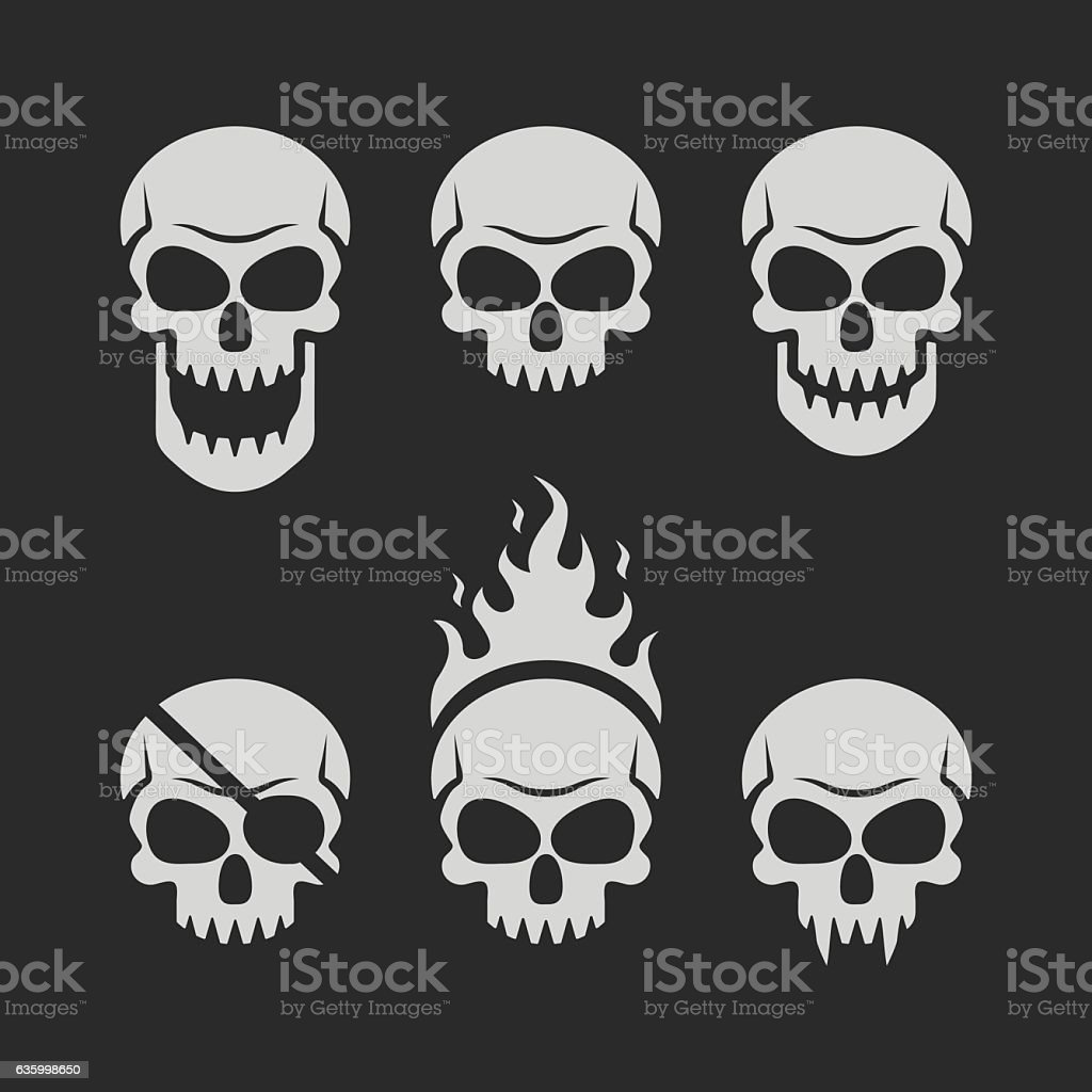 Skulls set on black background - ilustración de arte vectorial