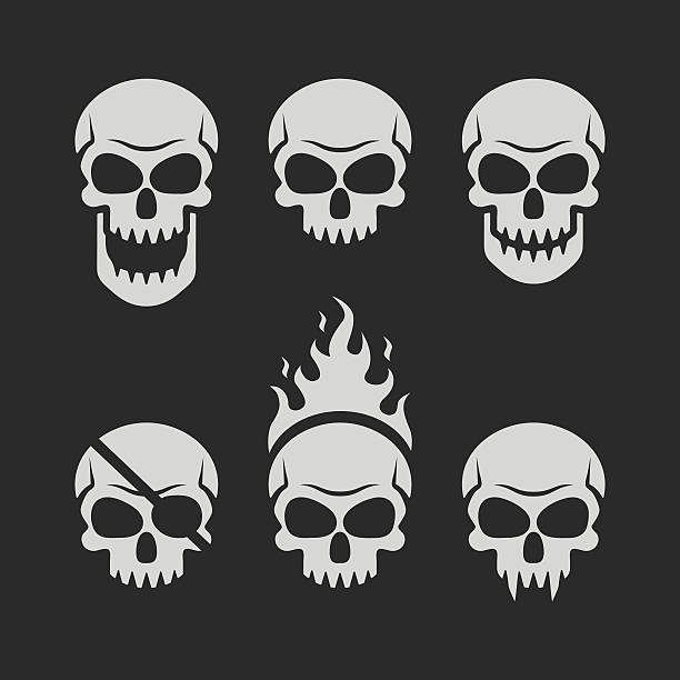 skulls set on black background - fire tattoos stock illustrations, clip art, cartoons, & icons