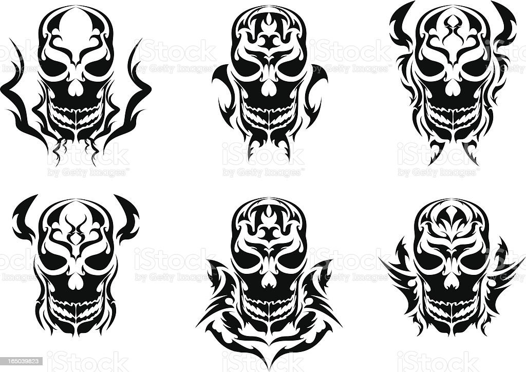 skulls (tribal) royalty-free stock vector art