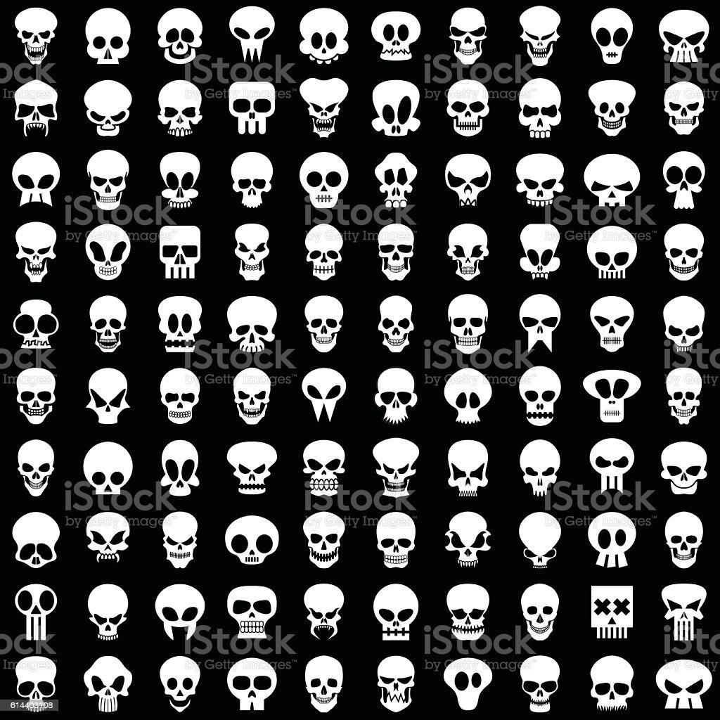 skulls vector art illustration