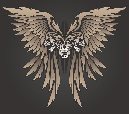 Skulls with Wings in Butterfly Shape Vector Illustration